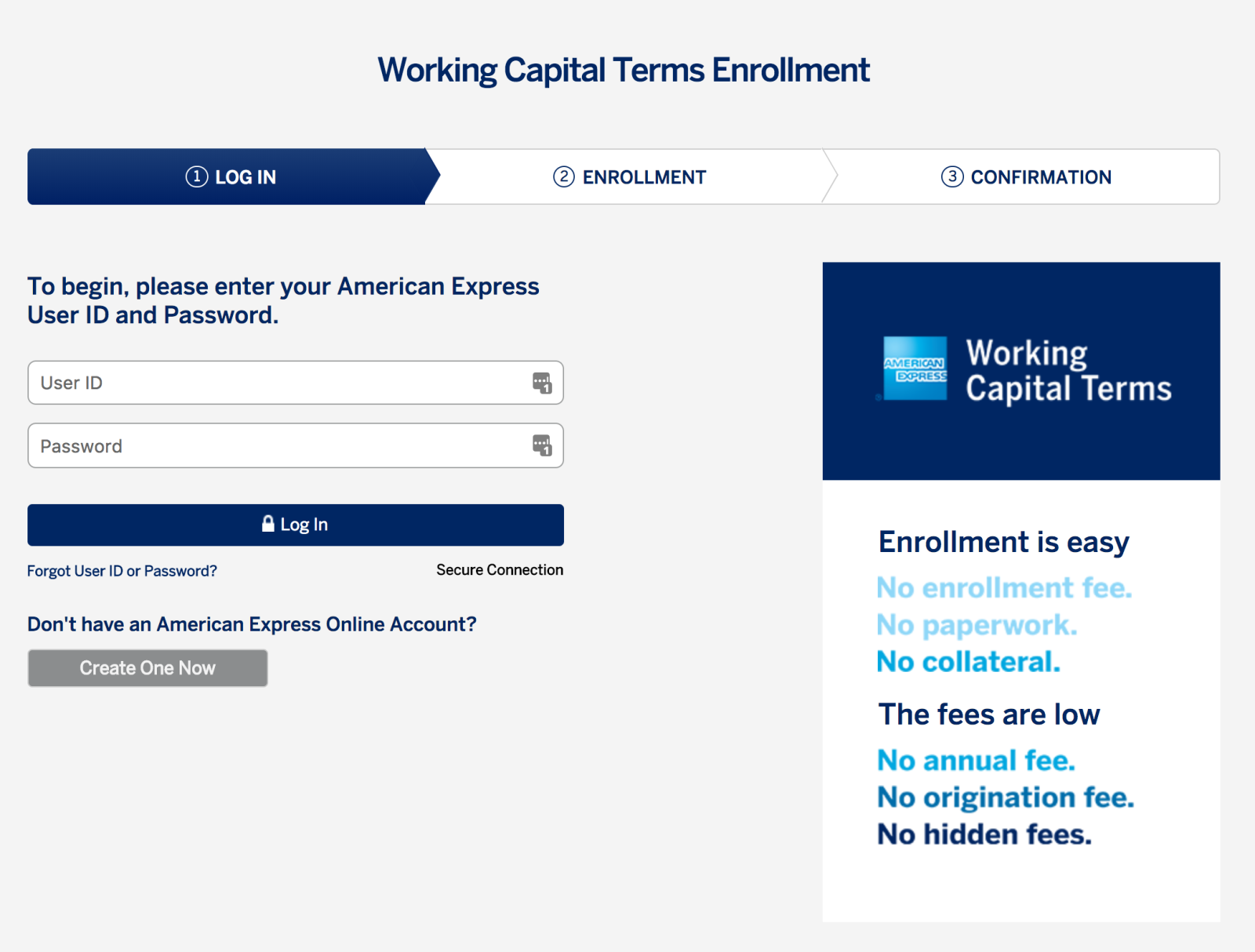 Screenshot showing login page for American Express Online Account