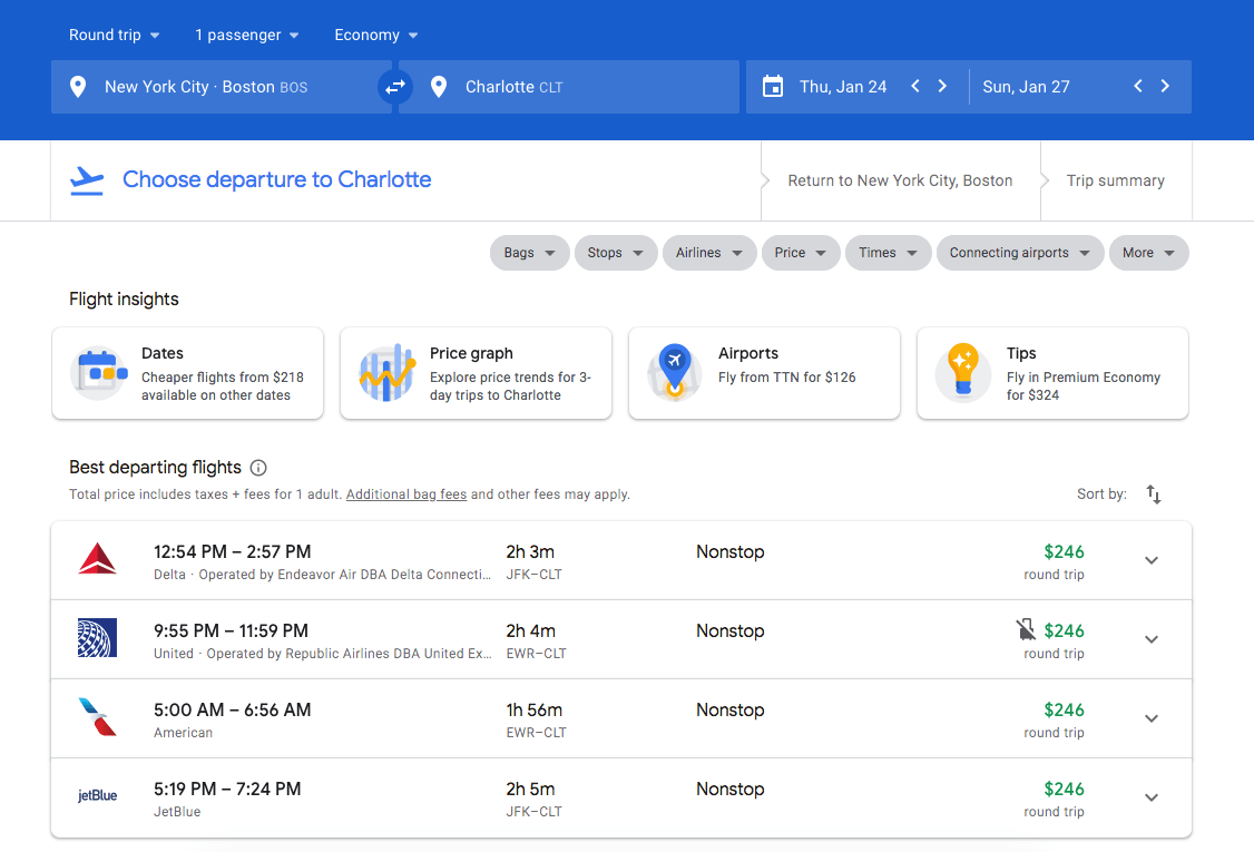 Booking a flight to Charlotte, North Carolina on Google Flights