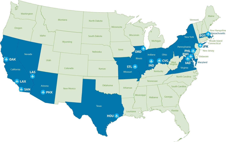 Map from TSA