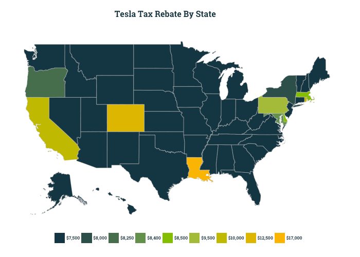 Map shows the price of tax rebate for Teslas in each state