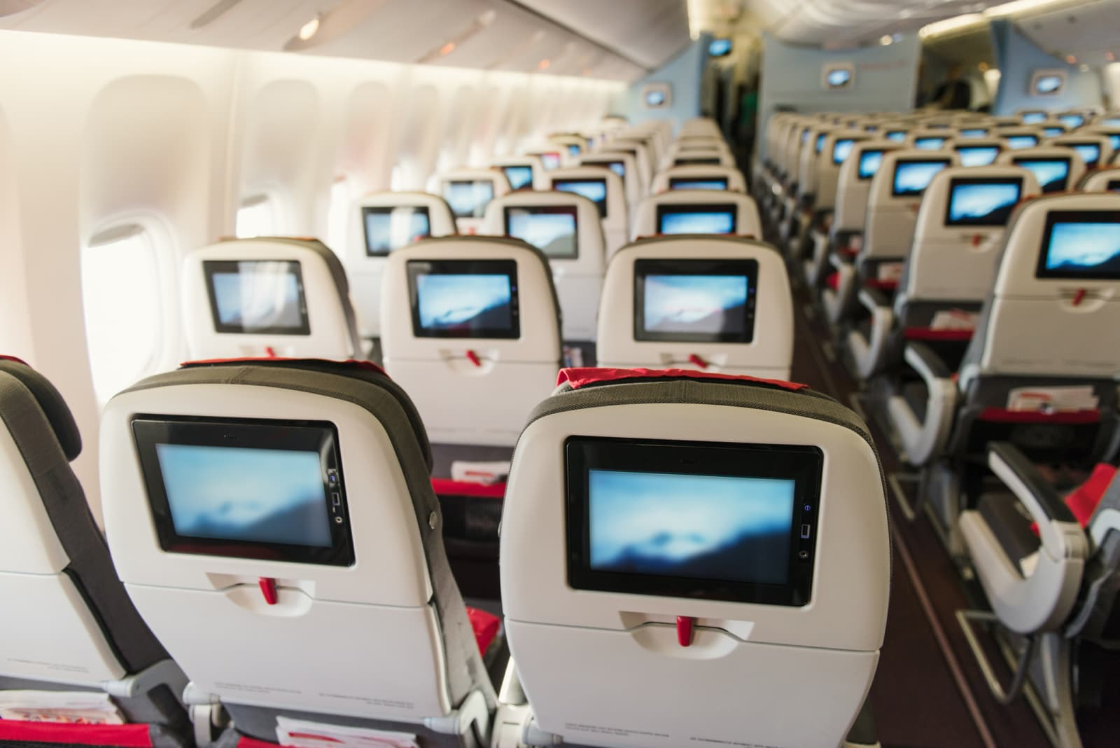 photo of economy class seats on an airplane