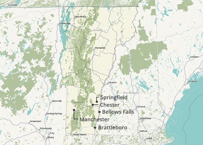 This map shows which cities in our Vermont city had the most expensive home insurance rates