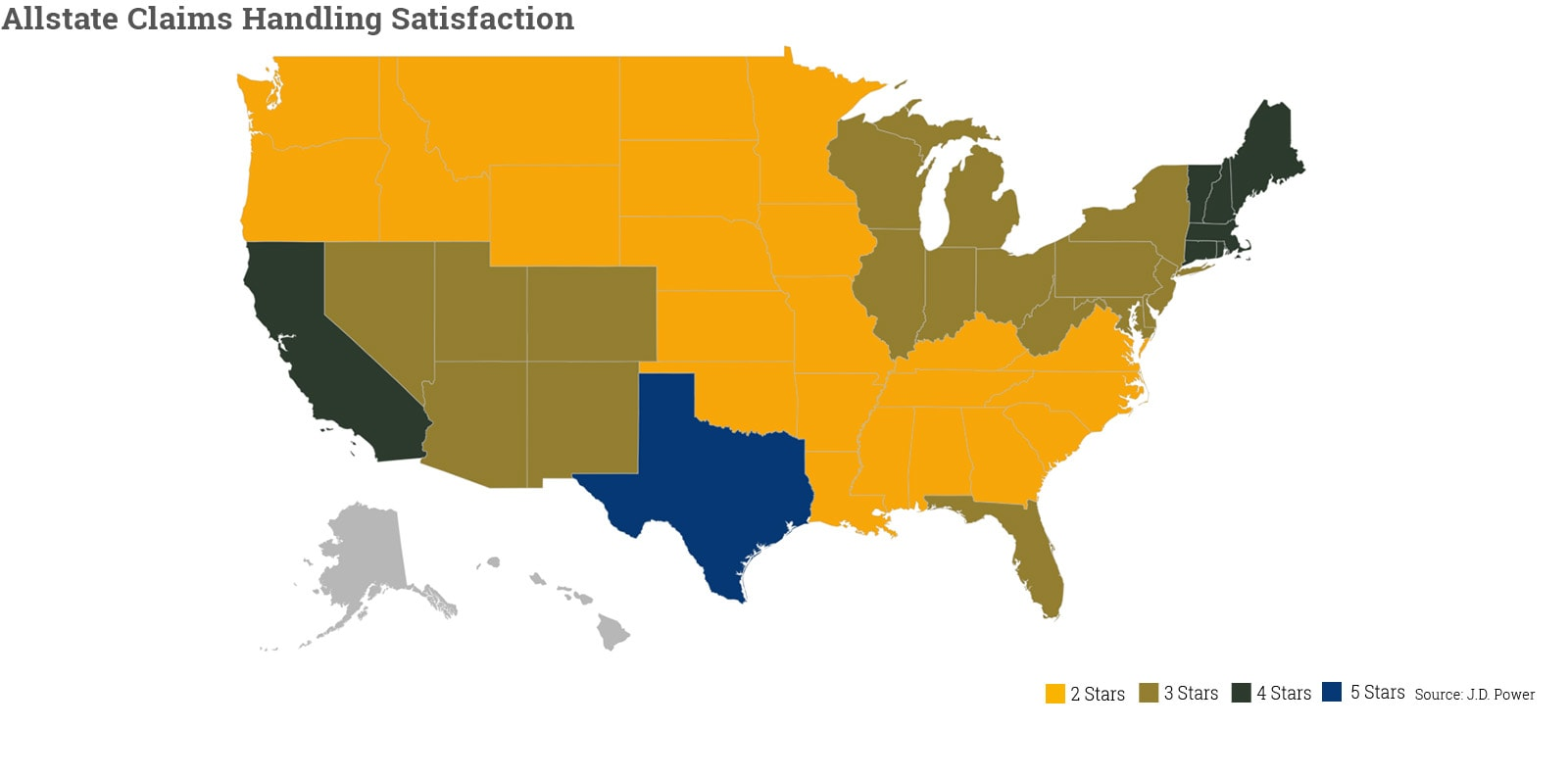 Map shows claims satisfaction for Allstate by state