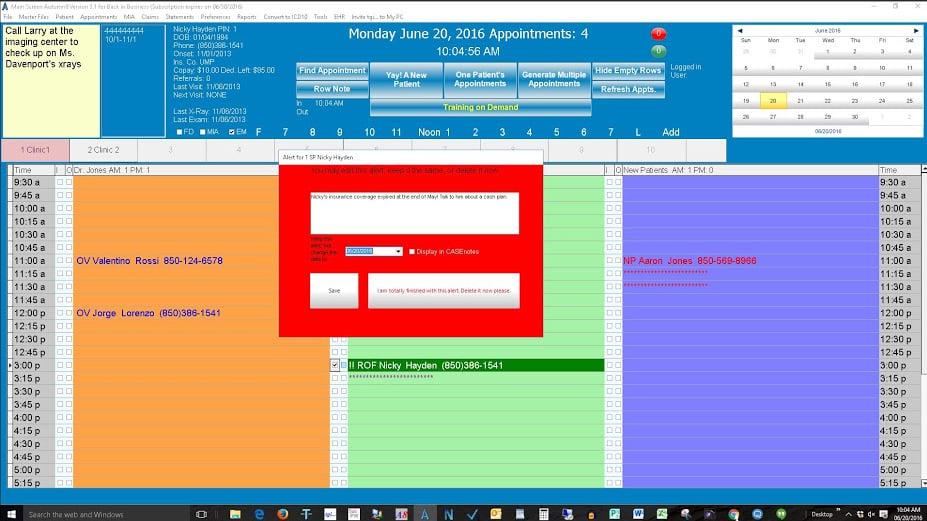Autumn8 patient alert pop-up in scheduling system