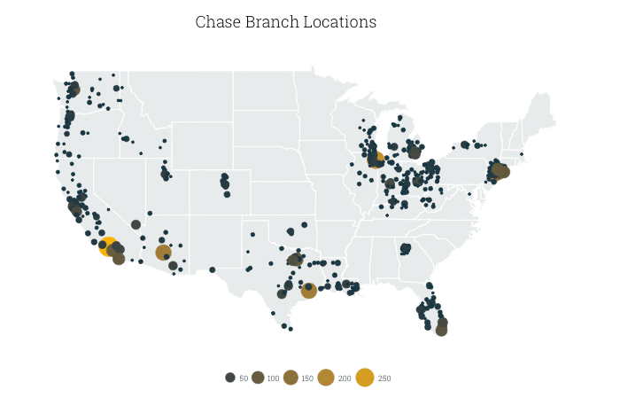 Map Of Chase Branches In The US, By County