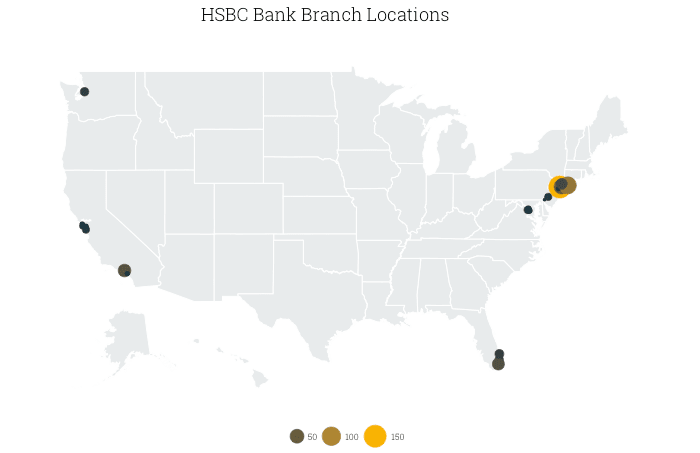 map of HSBC branches in the US, by county