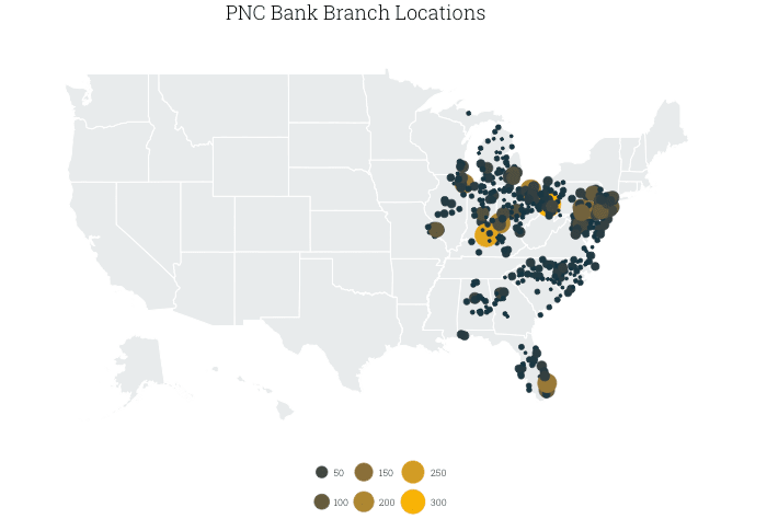 map of PNC branches in the US, by county