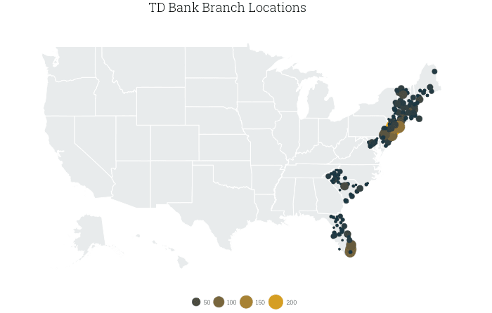 map of TD Bank branches in the US, by county