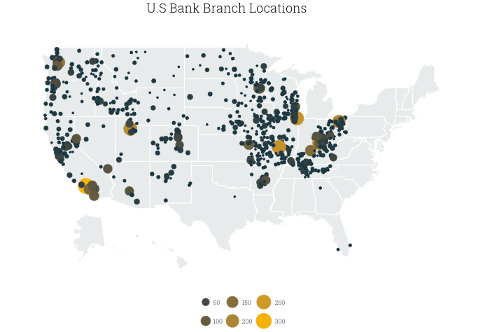map of US Bank branches, by county