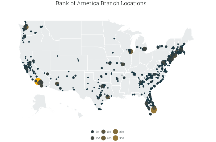 map of Bank of America branches in the US, by county