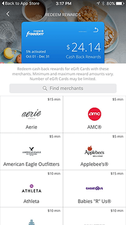 A snapshot of the Chase Freedom mobile app.