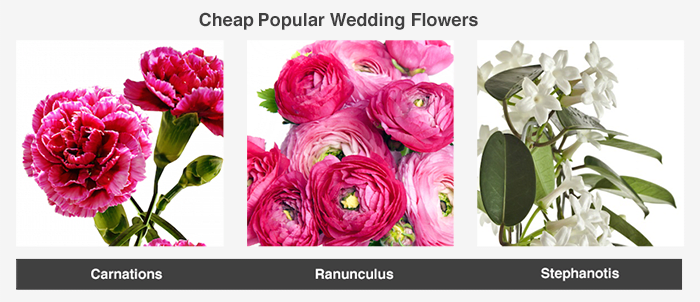 This image shows some examples of flower types popular at weddings - these flowers tend to rank on the more affordable end of the various types available