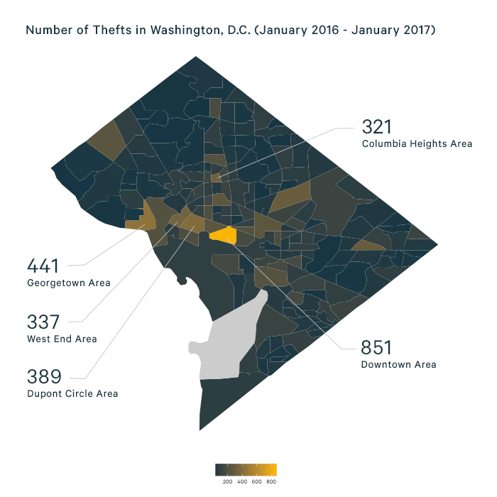 Image shows a map of D.C. neighborhoods, and where the most thefts occur