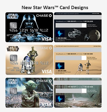Here are three front and pack images of the new Star Wars themed designs that Disney Premier users can choose for their credit card.