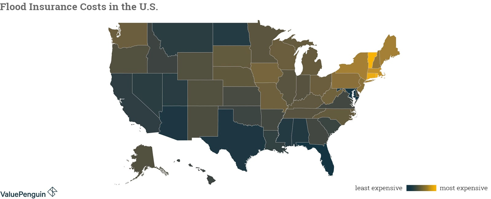 Map shows how costs for flood insurance change between states