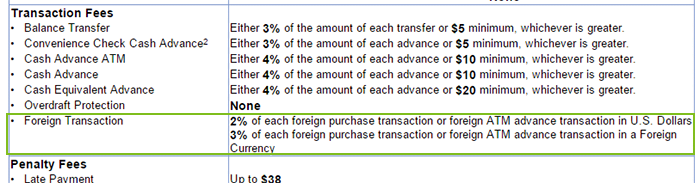 This image shows how to tell if you get charged an FX fee for a transaction in local currency or USD
