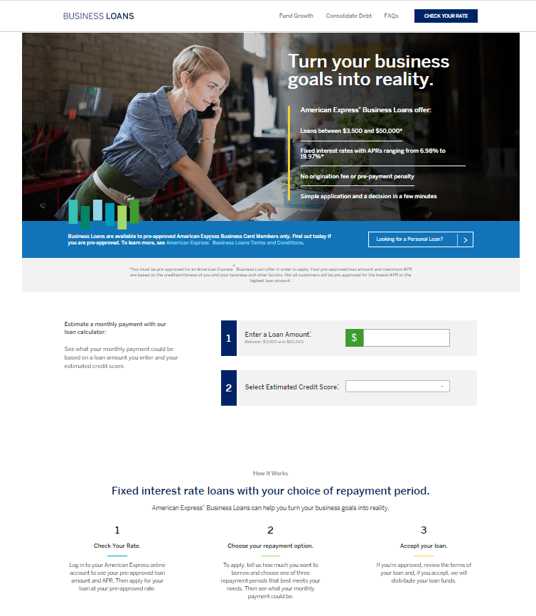 Screenshot depicting application process for American Express® Business Loan