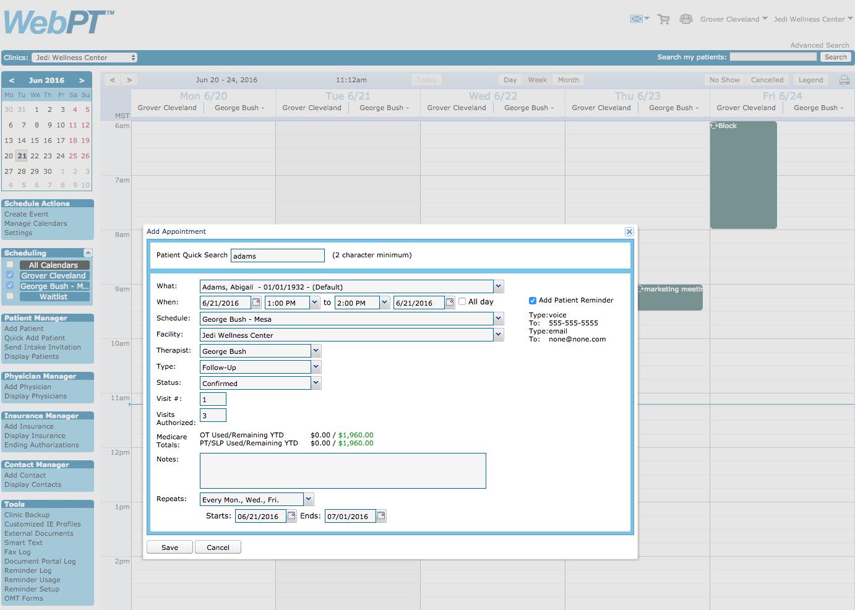 WebPT Scheduler