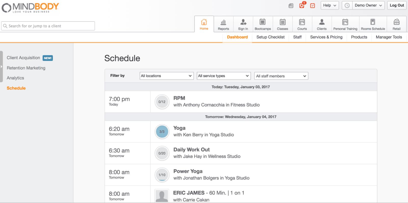 MINDBODY Schedule Dashboard