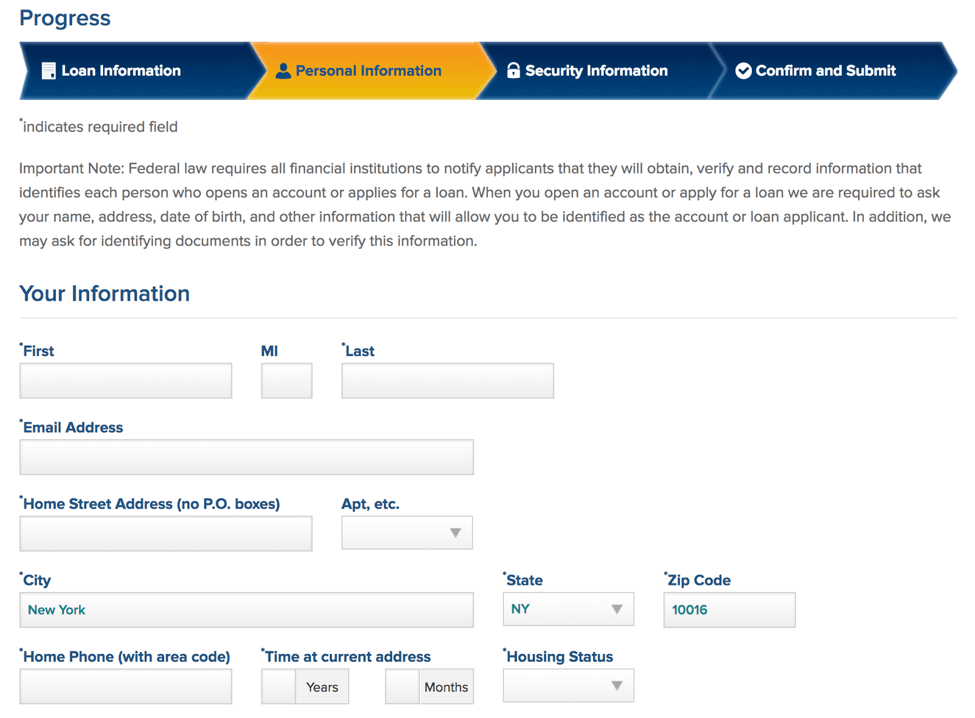 Image depicting application form on LightStream website