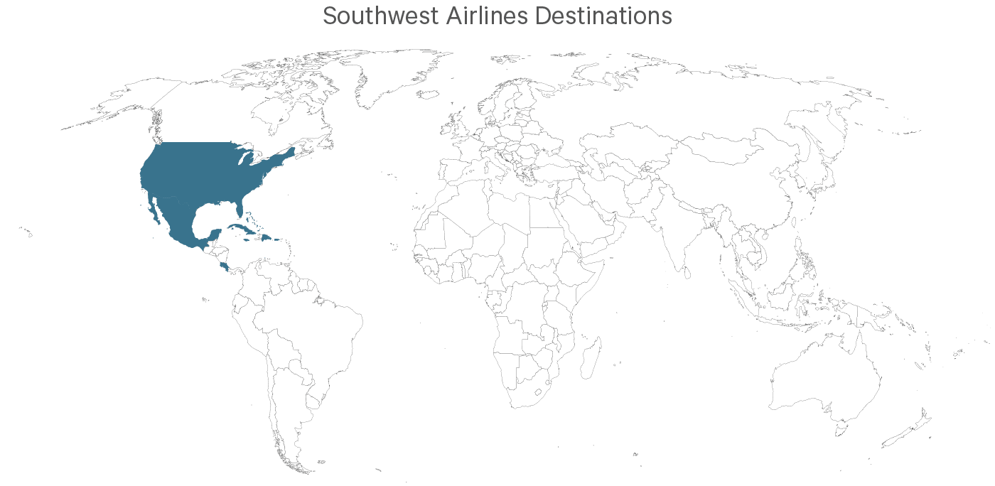 A map showing all the Southwest destinations.