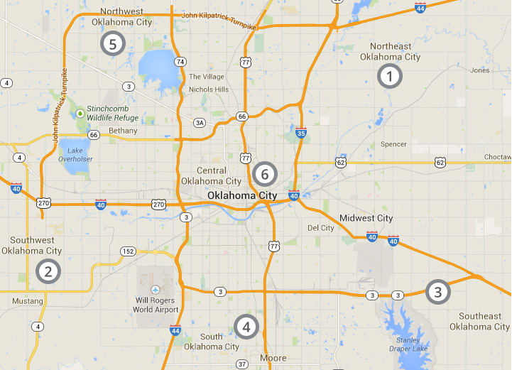 Ranking map of auto insurance prices in Oklahoma City