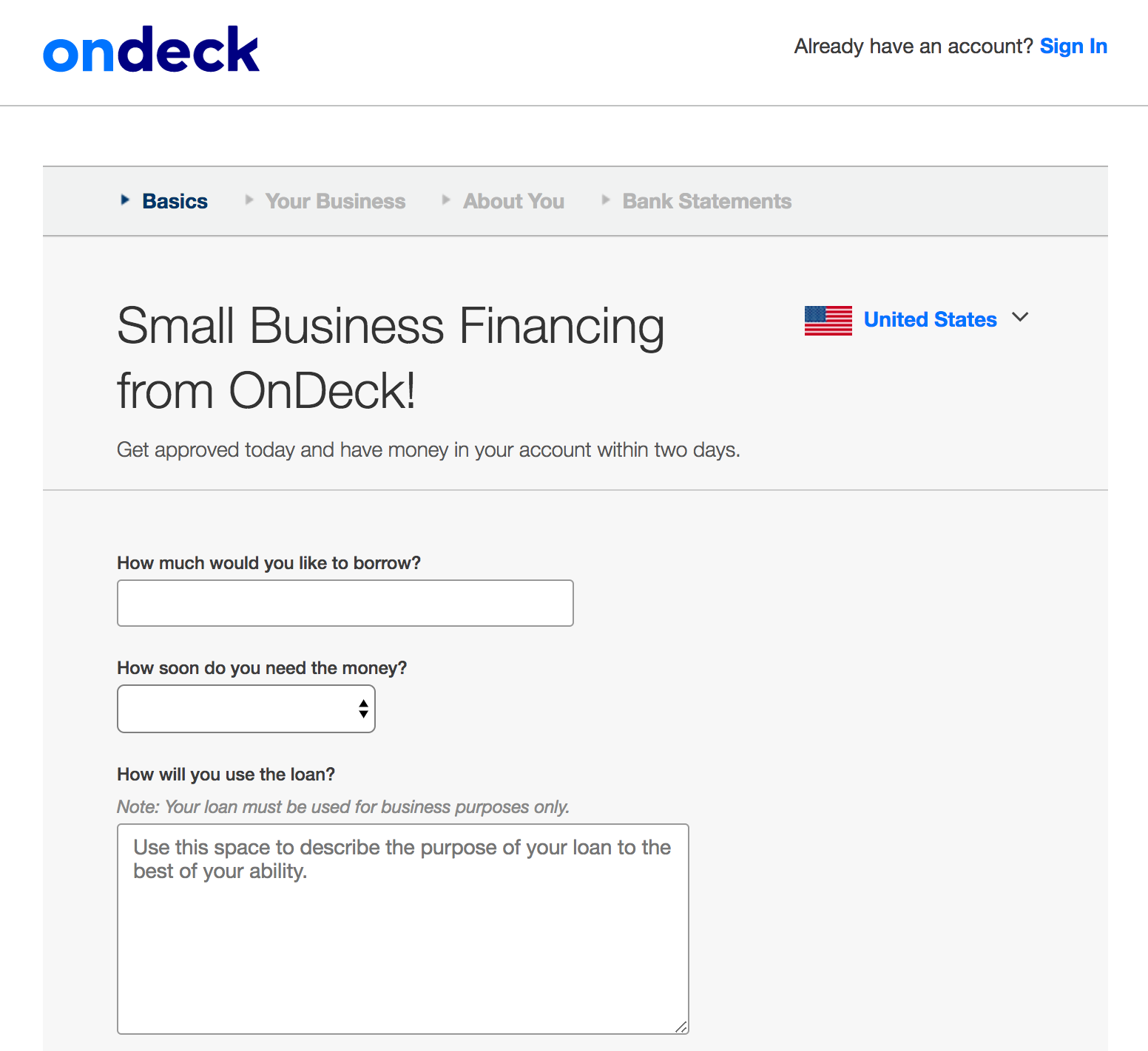 OnDeck Application Process