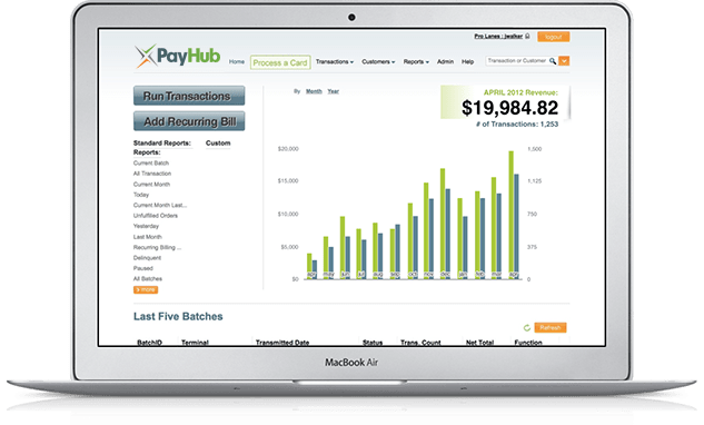 An image of PayHub's online reporting interface.
