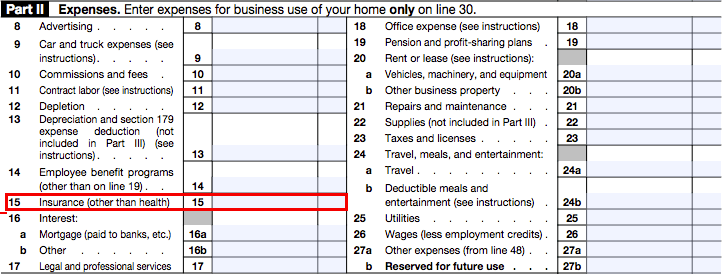 Image shows where people can write write off their car insurance expenses on their tax form