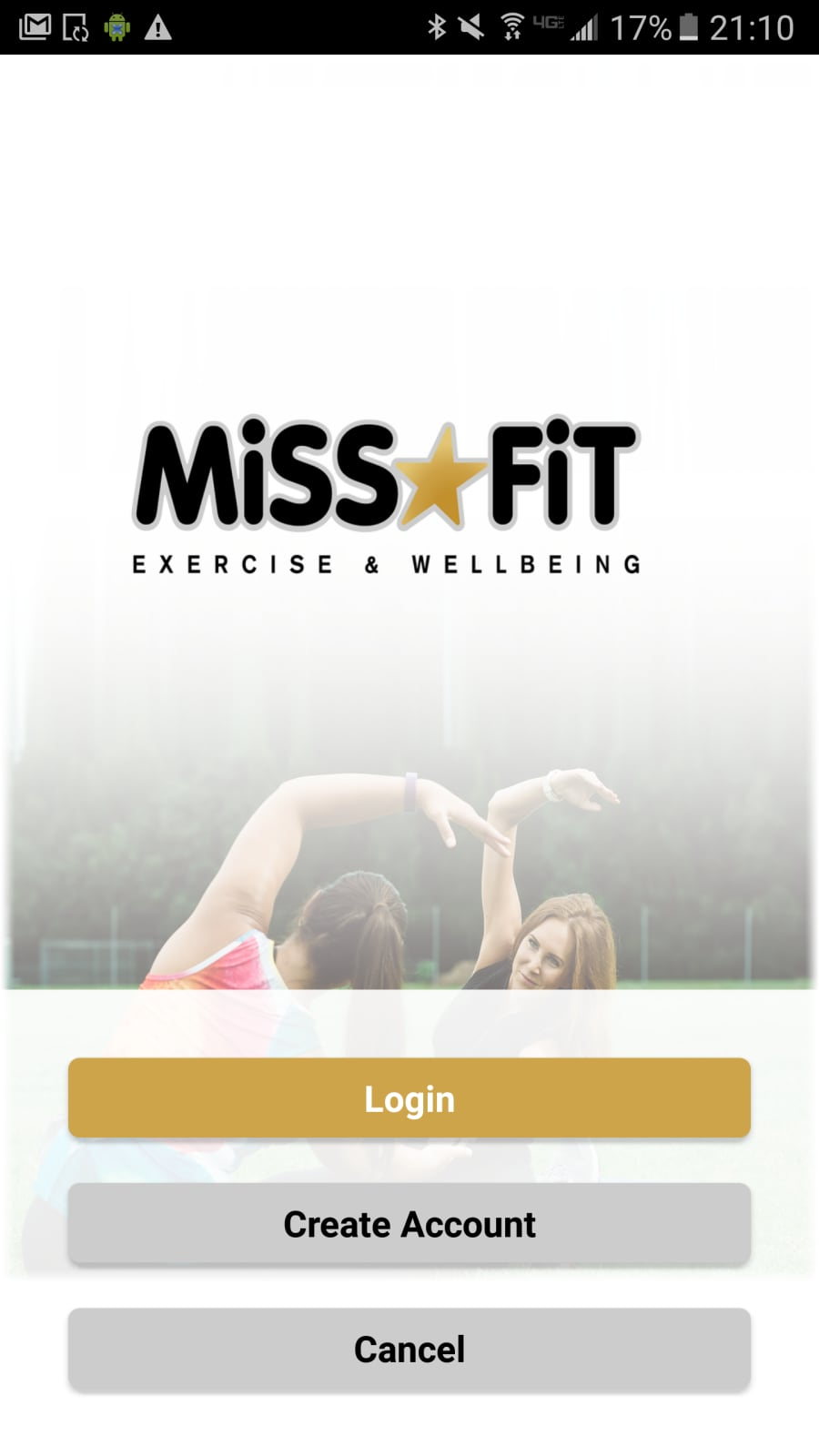 Miss Fit Exercise and Wellbeing App Homescreen