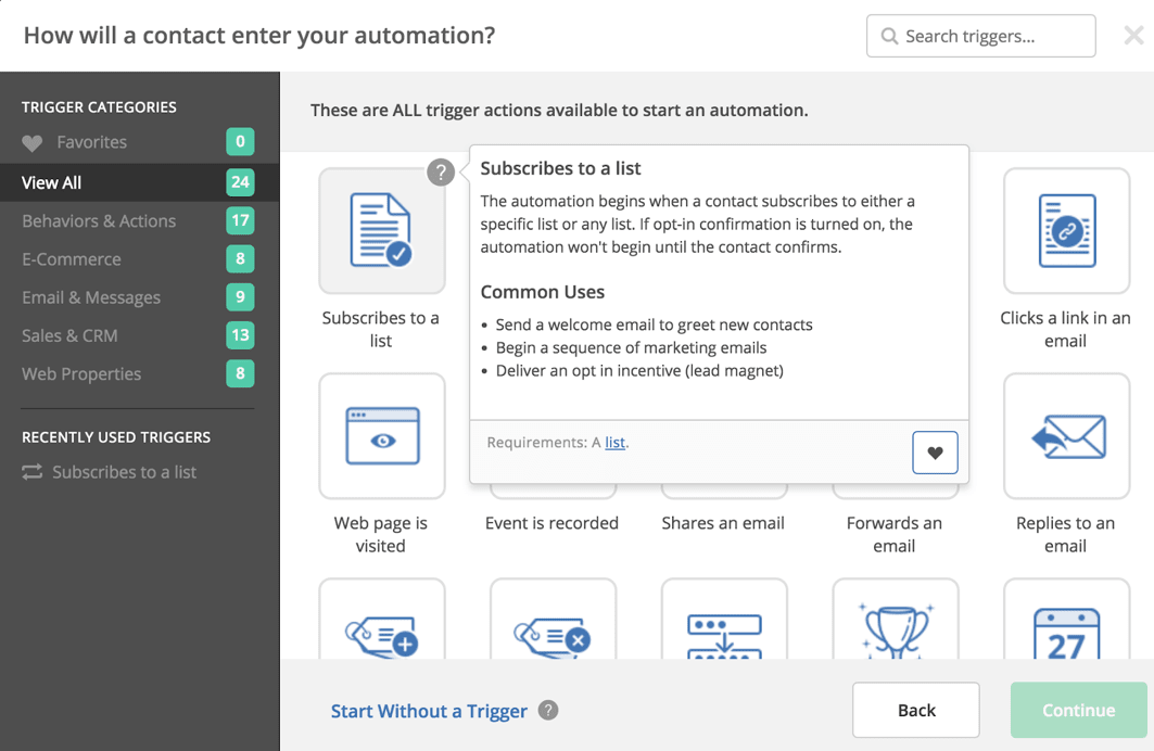 ActiveCampaign Review Automation Triggers