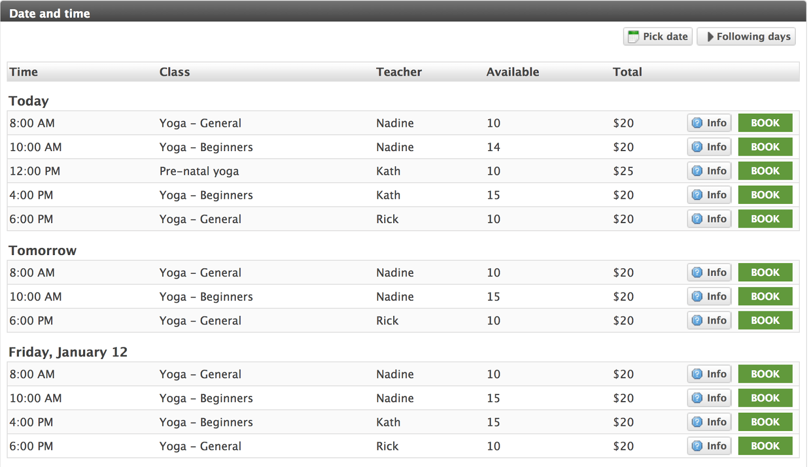 Bookeo review class schedule online