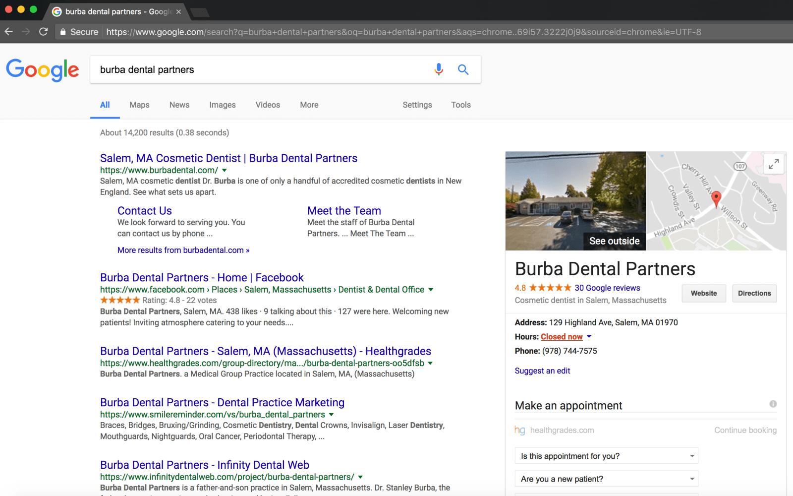 Burba Dental Partners Search Page