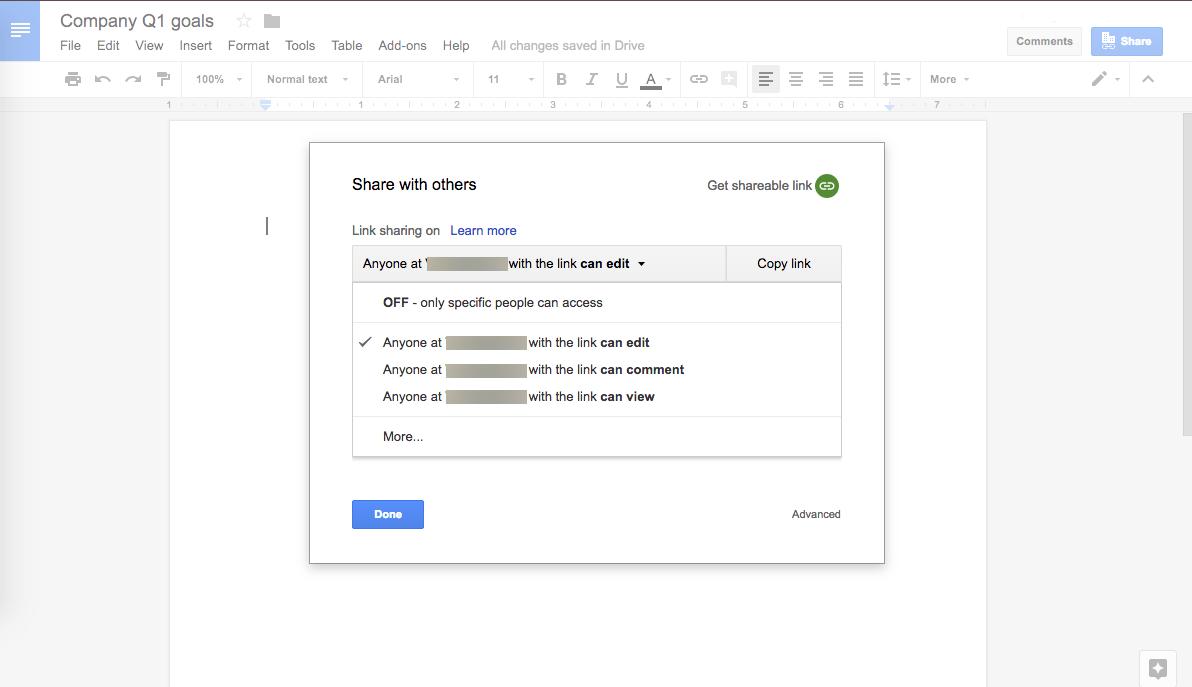 Google Drive Sharing Settings