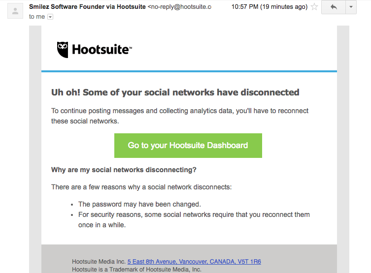 Hootsuite lost connection