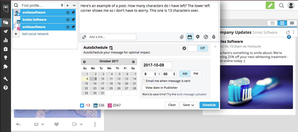 Hootsuite scheduler