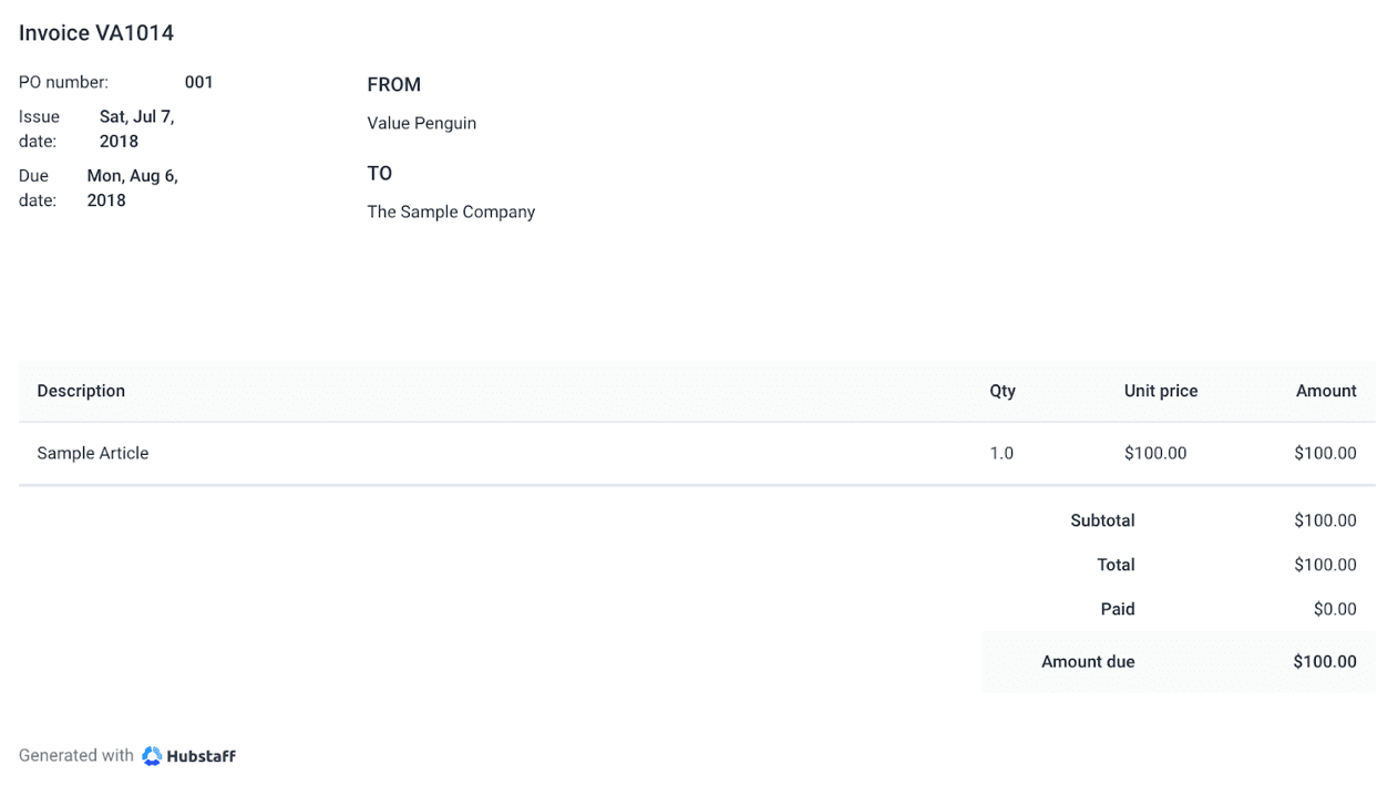 Hubstaff Review Sample Invoice