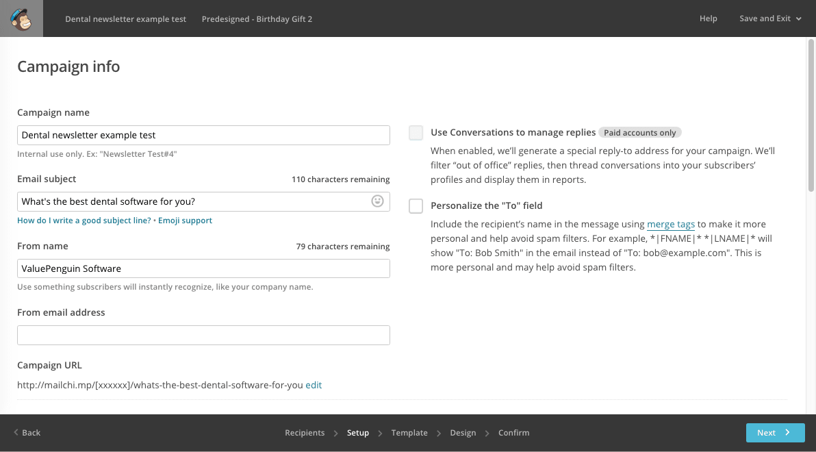 Creating a MailChimp newsletter: fill out campaign info