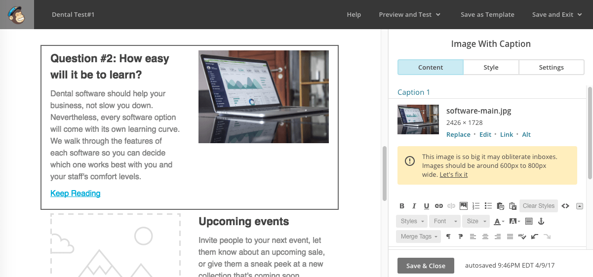 MailChimp review: example of email design