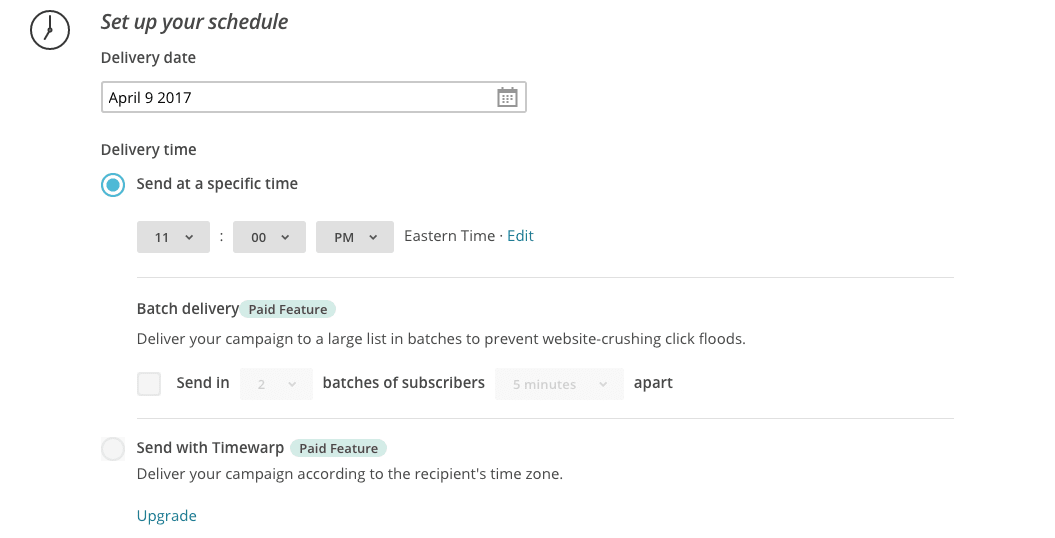 MailChimp review: email schedule options