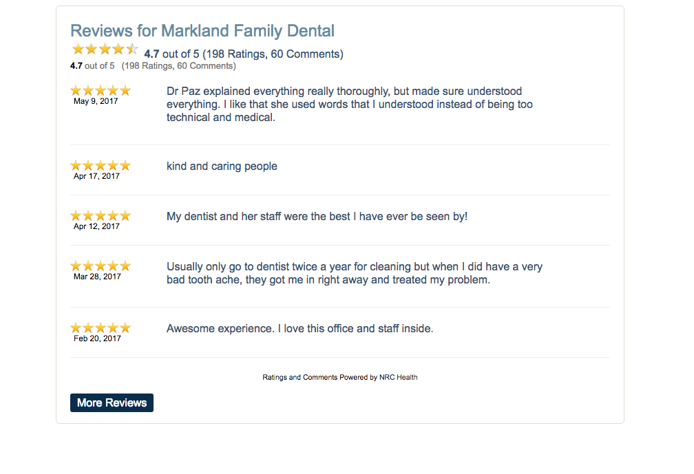 Markland Family Dental reviews