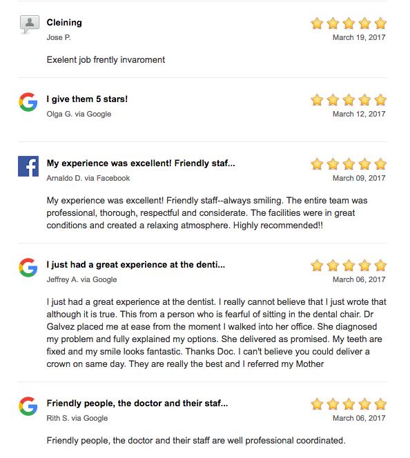 patient reviews google facebook