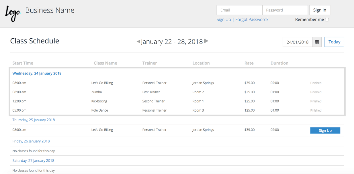 PTminder Client Class Schedule