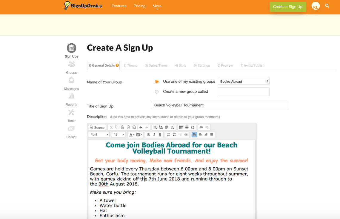 SignUpGenius Review Create SignUp Form