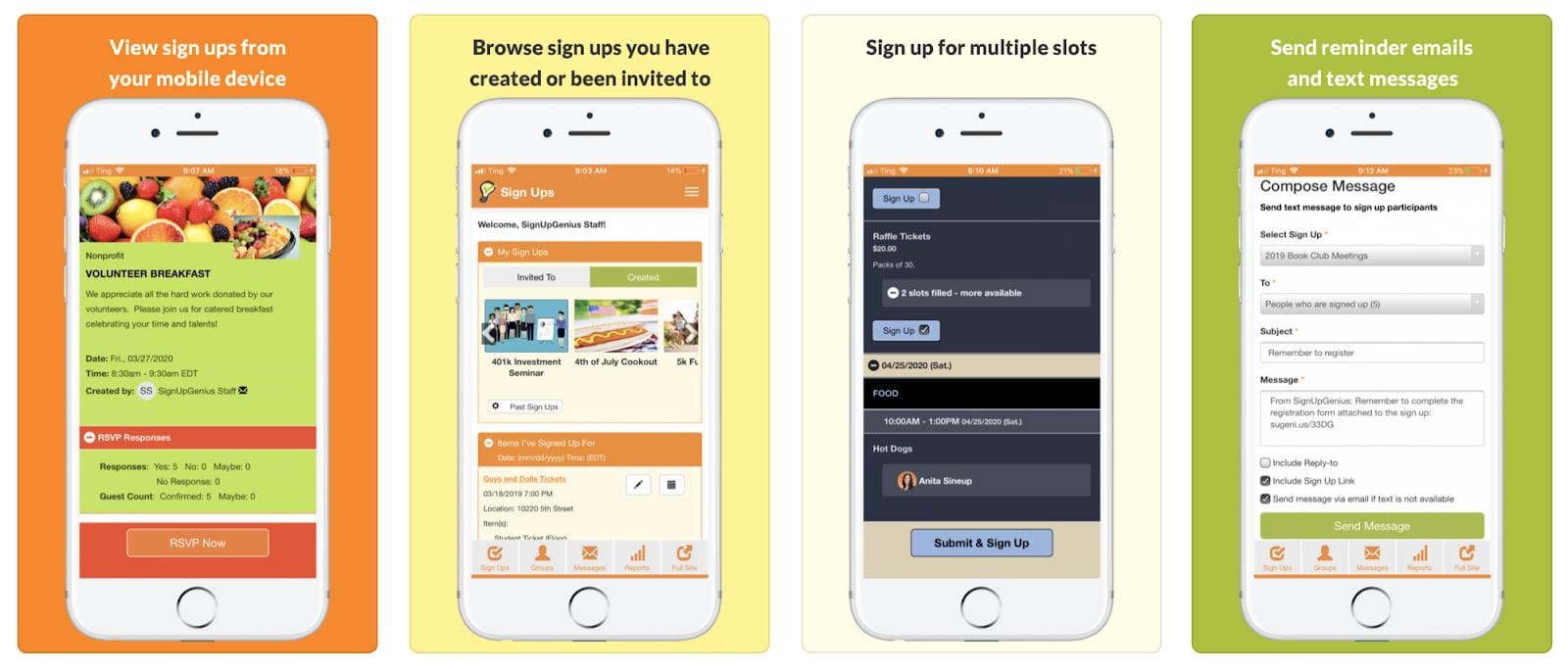 SignUpGenius Review Mobile App