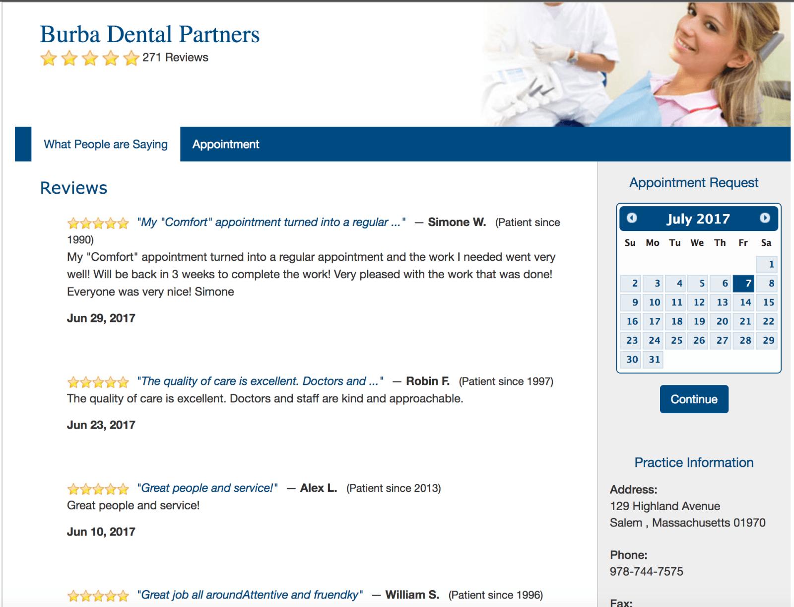 SolutionReach Reviews Site Example