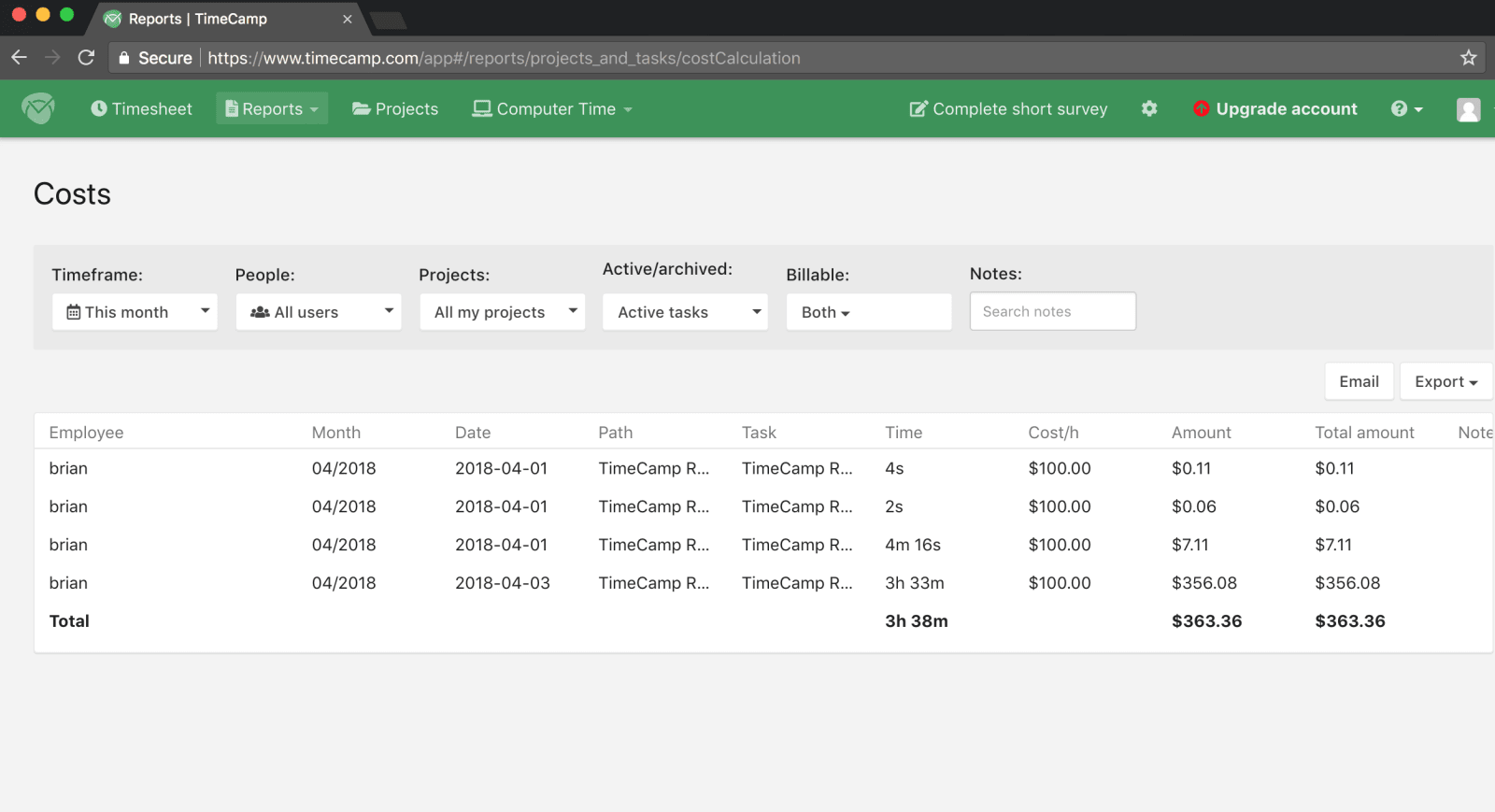 TimeCamp Review Adding Project Costs