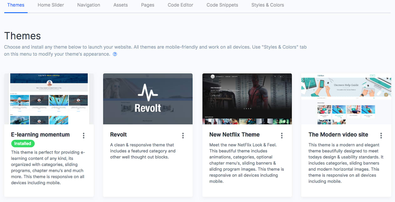 Uscreen Review Website Themes