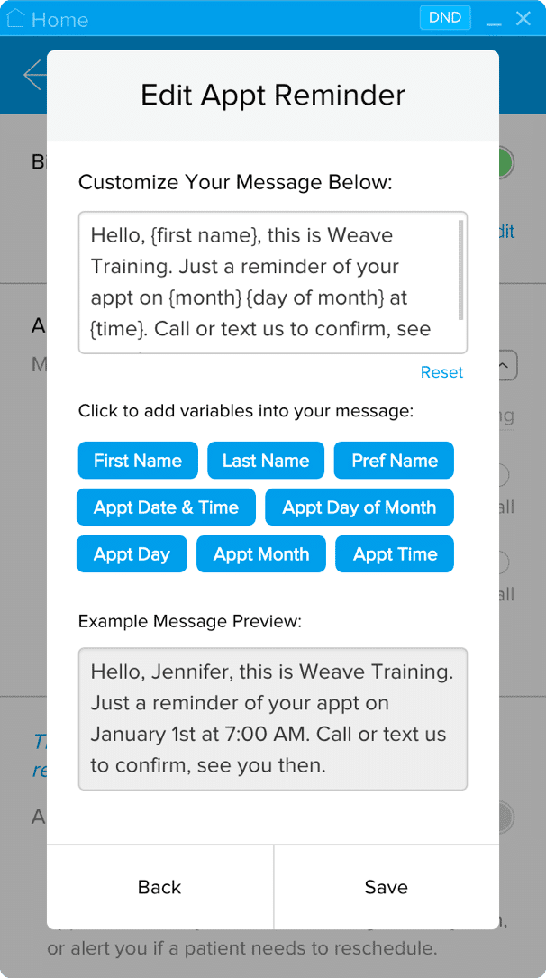 Weave Appointment Reminder Template