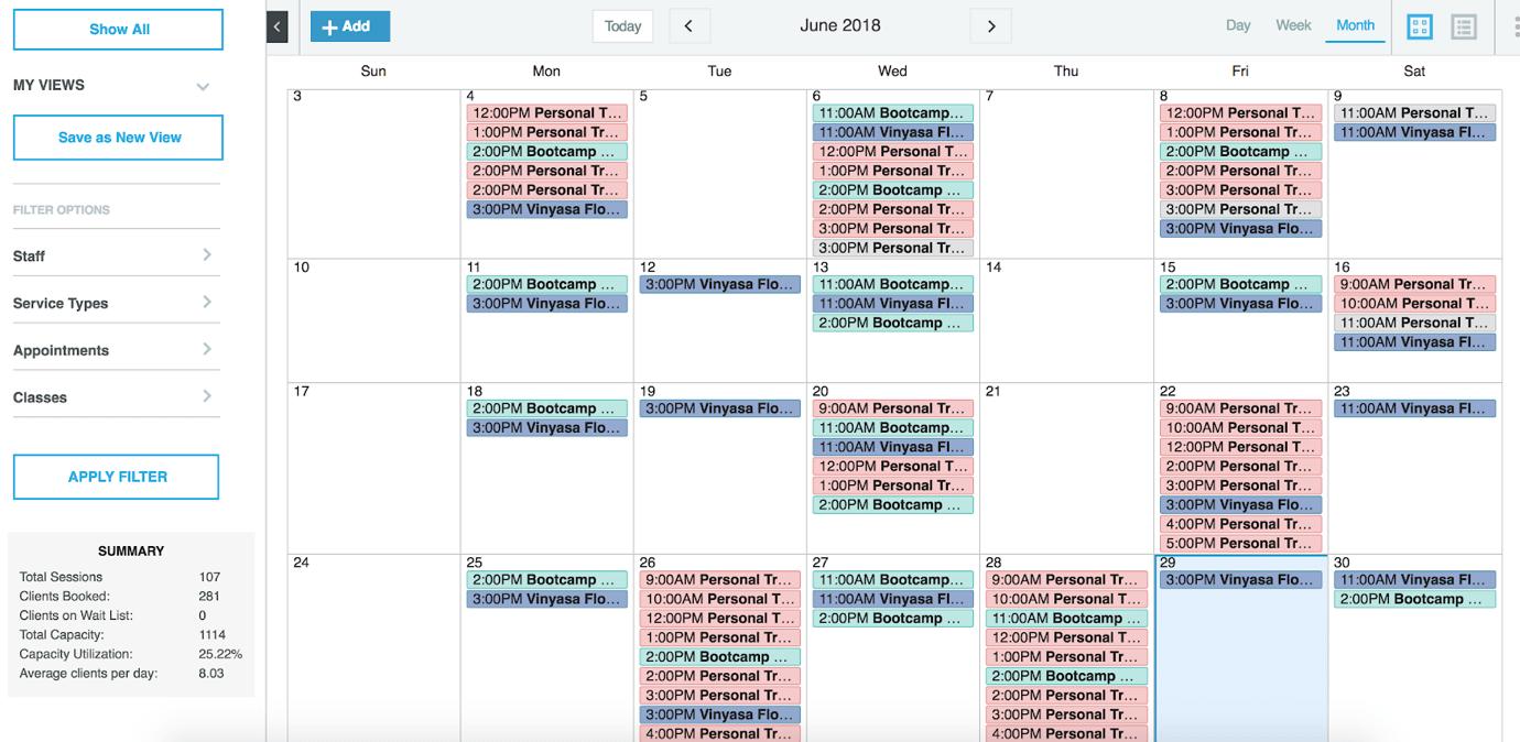 WellnessLiving Review Calendar